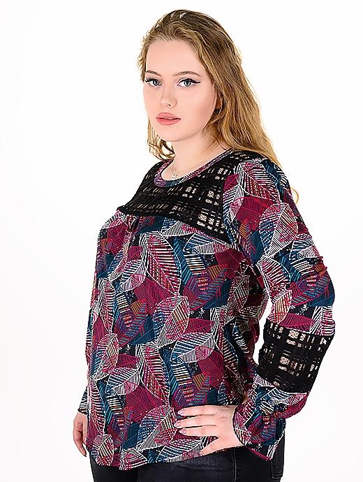 Блуза от релефен плат с дантела.(червен)