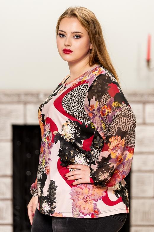 Цветна макси блуза с шифонени ръкави