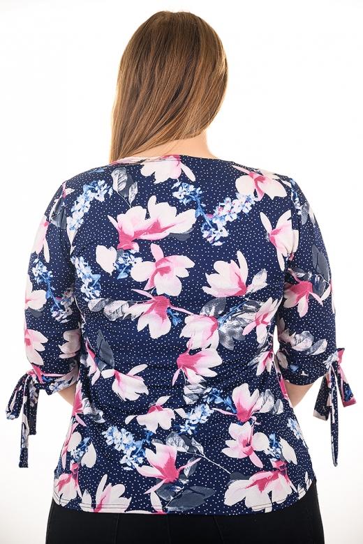 Свежа блуза с орхидеи, подходяща за всякакви поводи (тъмно син с орхидеи пепел от рози)