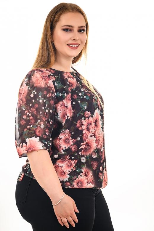 Блуза на точки от шифон с естествен хастар (брик)