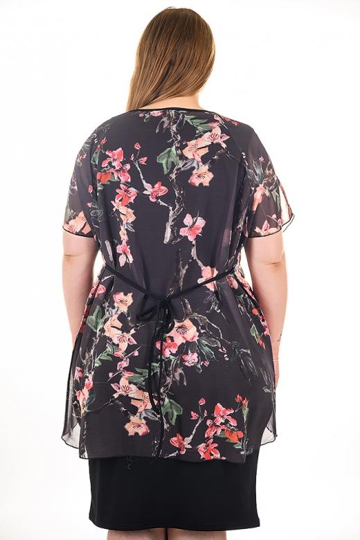 Елегантен сет от две части: черна изчистена рокля без ръкав и феерична туника от шифон (черен)
