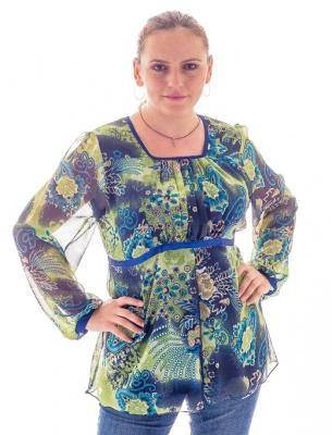 Официална дамска блуза в зелено-син цвят