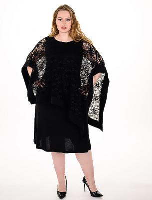 Официална рокля с дантела - черен