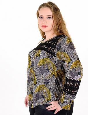 Блуза от релефен плат с дантела (жълт)