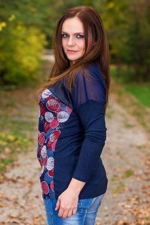 Блуза от ангора в съчетание с кожа и тюл (син)