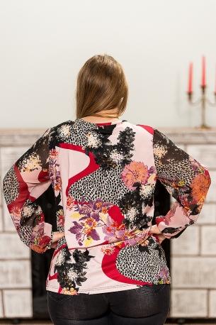 Цветна макси блуза с шифонени ръкави (пъстър)