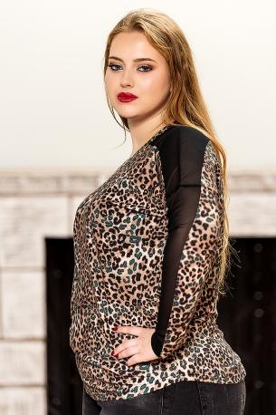 Блуза с дантела по ръкава от мека материя, която гали кожата (тигров,петрол)