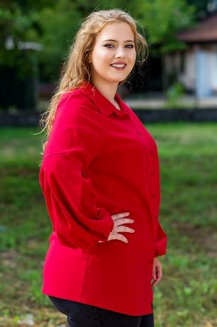 Макси дамска риза от еластичен плат с оригинален ръкав (червен)