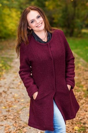 Елегантно и топло палто (бордо)