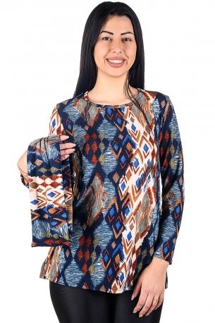 Удобна туника за ежедневието със сваляща яка от финно плетиво (синьо и керемида)