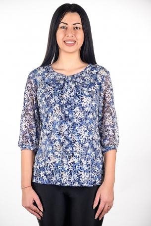 Елегантна блуза от релефен плат с шифон, подходяща за официални поводи (син с бели цветчета)
