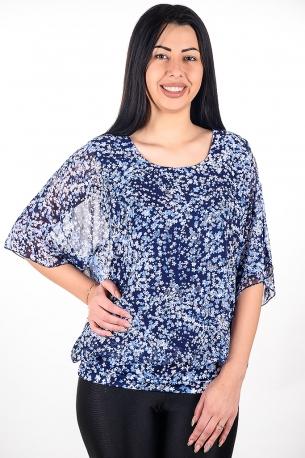 Блуза от шифон с релефни нежни цветчета