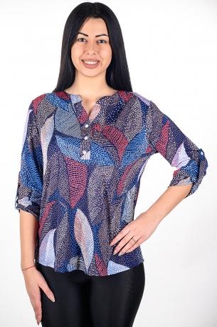 Риза от цветен принт (шарен с пера)