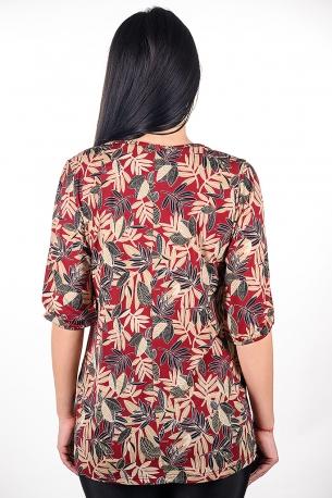 Туника на цветни палмички (бордо)
