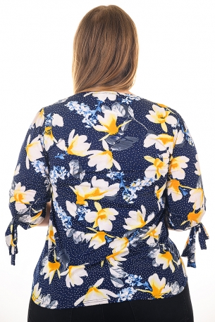 Свежа блуза с орхидеи, подходяща за всякакви поводи (тъмно син с орхидеи горчица)