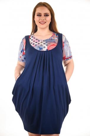 Рокля имитация сукман с блуза (тъмно син с тъмно сини точки)