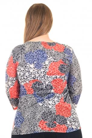 Блуза тип риза от естествена материя. Мека и удобна (щарен с оранжеви цветя)