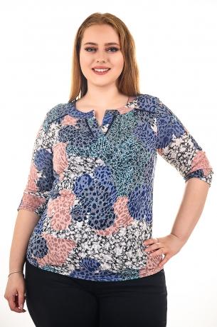 Блуза тип риза от естествена материя. Мека и удобна (щарен с пудрени цветя)
