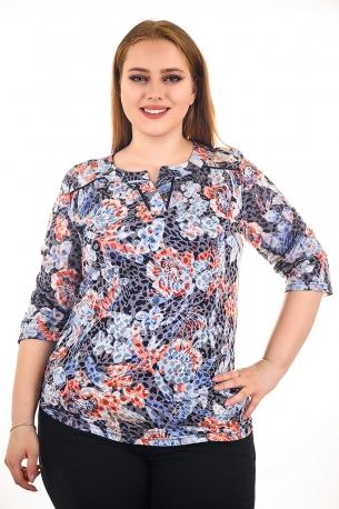 Блуза тип риза от естествена материя. Мека и удобна (щарен с цветя)