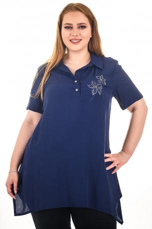 Туника тип риза с бродерия и камъни (тъмно син)