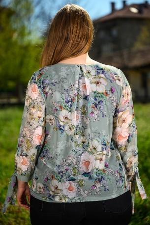 Ефирна блуза от шифон с естествен хастар (зелен)