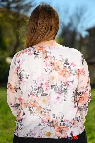 Ефирна блуза от шифон с естествен хастар (бял)