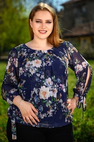 Ефирна блуза от шифон с естествен хастар (син)