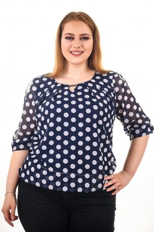 Блуза на точки от шифон с естествен хастар (тъмно син)