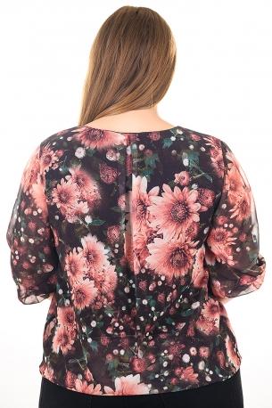 Блуза на точки от шифон с естествен хастар.