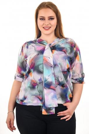 Блуза от шифон с дигитален принт и панделка за разкош, подплатена с еластичен хастар от естествена материя (шарен)