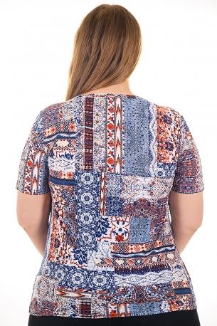 Ежедневна блуза в красив принт (син)