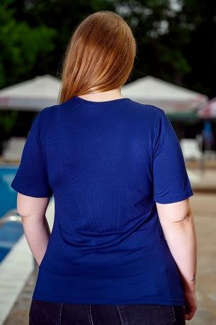 Блуза с дантела от естествена материя (син)