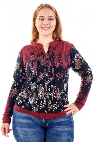 Мека и топла блуза (бордо с цветя)