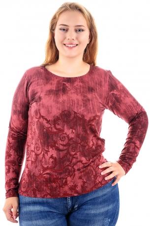 Топла и мека блуза с оригинален принт (бордо)