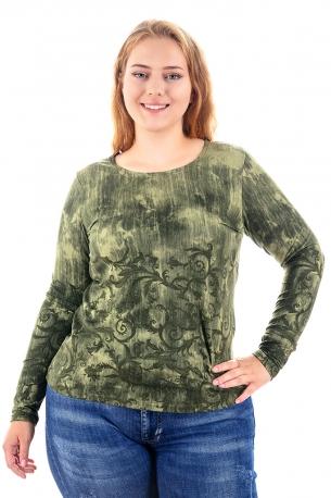Топла и мека блуза с оригинален принт (зелен)