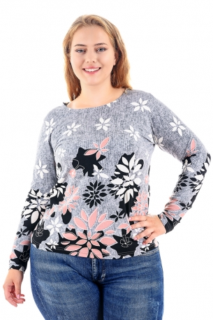 Топла и мека блуза с оригинален принт (сив)