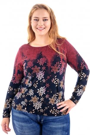 Топла и мека блуза с оригинален принт (бордо с цветя)