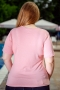 Блуза с дантела от естествена материя (розов)